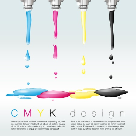 printer drawing: Four nozzles with CMYK colors - CMYK print concept - place for text