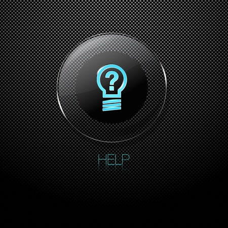 help button: Metal background with glass HELP button