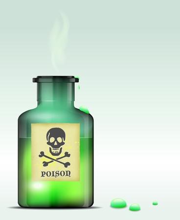 poison bottle: Bottiglia di vetro di veleno