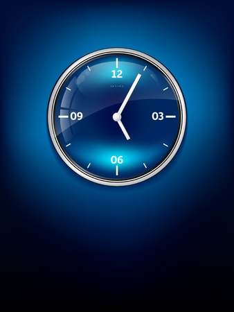 Elegant blue clock with place for your text Vector