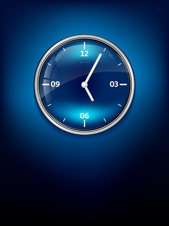 office clock: Elegante reloj de color azul con lugar para el texto