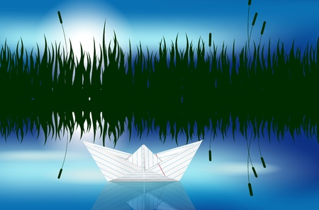Origami paper boat on water level Vector