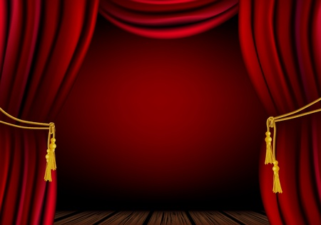 Red curtain - place for your object or text Vector