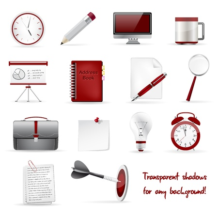 electronic mail: Set of office and business 3D glossy icons Illustration