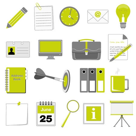 electronic book: Set of office and business icons