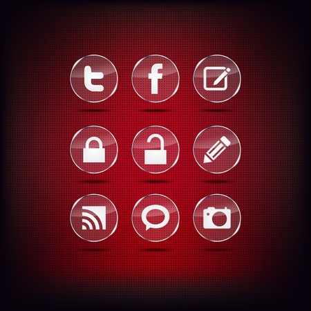 Set of red modern glass web buttons icons Vector
