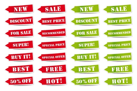 descriptive color: Red and green labels with different signs of the business world