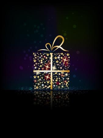 Christmas present box made from shining stars - merry christmas