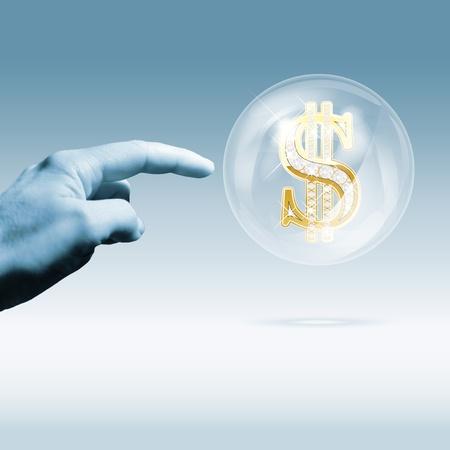 derrumbe: La crisis financiera combinada concepto de foto y el gráfico