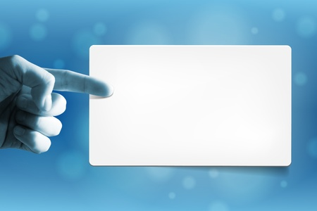 Hand and empty paper card for your text  Combination of photo and graphic  Hand photo is mine Stock Photo - 12707375