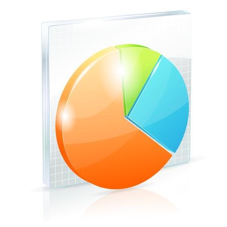 Shiny pie chart icon Stock Vector - 12488748
