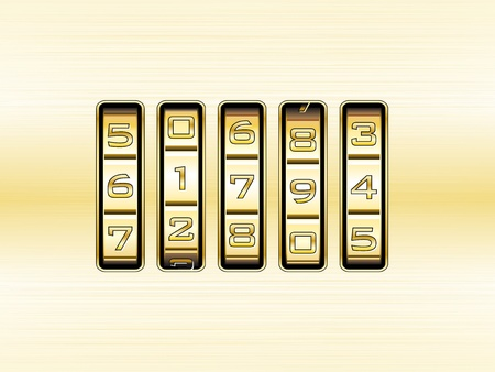 combination lock: Gold combination lock - number code Illustration
