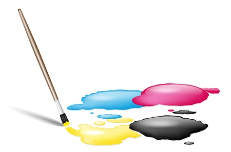 printer drawing: Brush and CMYK splashes - place for text Illustration