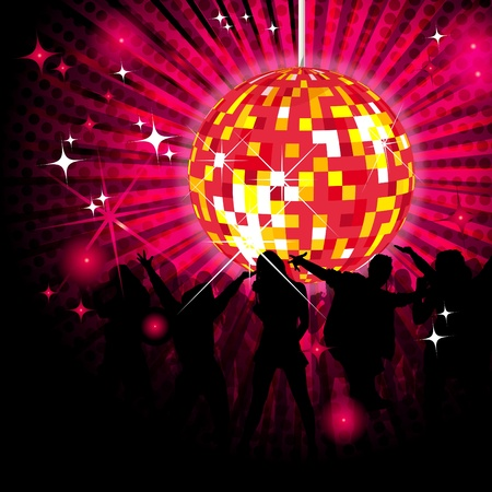 Party design with dancing people, disco-ball and glitters