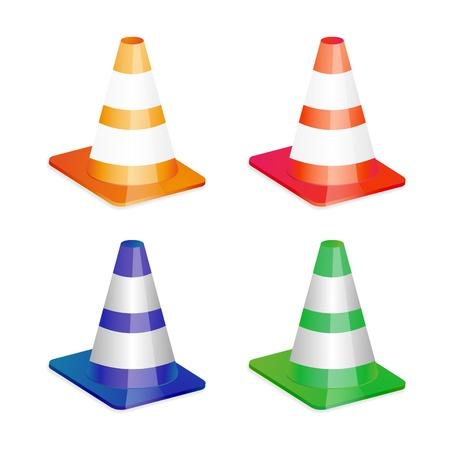 Cuatro iconos de tráfico de cono