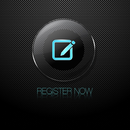 Metal background with glass REGISTER NOW button