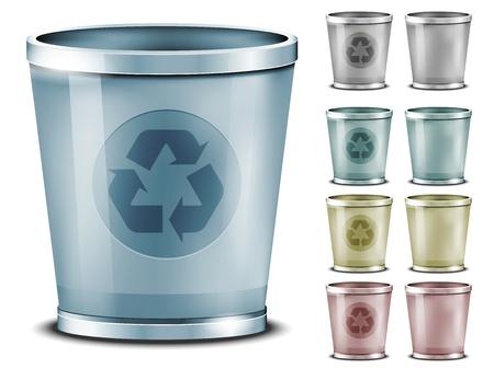 wastebasket: Set of different colored bins