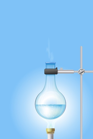 reaction: Laboratory burner and flask with place for your text Illustration