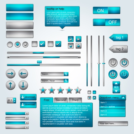 Set of illustration UI azure gray web elements Stock Vector - 12488548