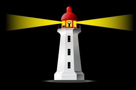 lighthouse at night: Detallada faro en la noche Vectores