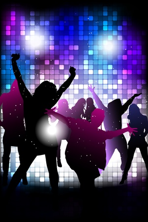 abstract dance: Party people background - dancing young people Illustration