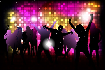 weekends: Party people background - dancing young people Illustration