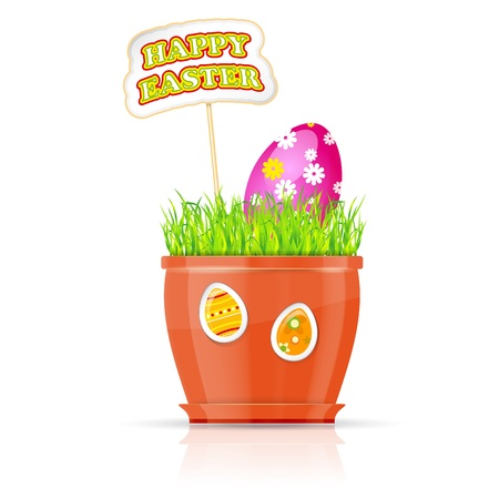 verdure: Flowerpot with grass and easter egg  Happy Easter concept  Illustration