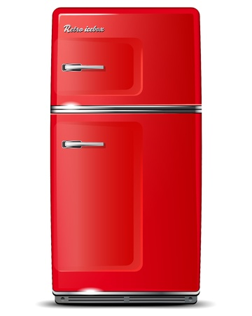 old kitchen: Red retro refrigerator - isolated on white - vector file