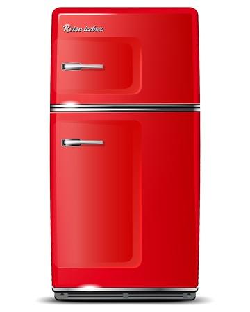 frigo: Rode retro koelkast - geïsoleerd op wit - vector-bestand Stock Illustratie