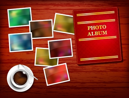 Wooden table, album, photos, coffee - place for your text Vector