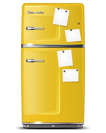 refrigerator with food: Yellow retro refrigerator with paper stickies for your messages