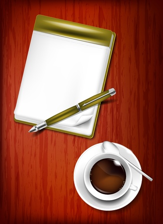 Pencil, notebook and cup of coffee on the wooden table Vector