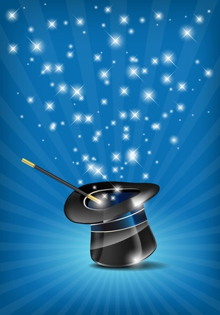 Glossy magic hat and wand in action - vector file Ilustração