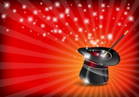 mago: Sombrero mágico y una varita brillante con las estrellas - archivo vectorial Vectores