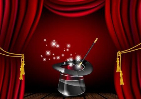 fondo de circo: Sombrero mágico brillo y la varita en la acción - archivo vectorial