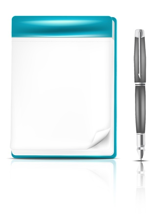 note pad and pen: Gray pencil and blank page of a turquoise notebook