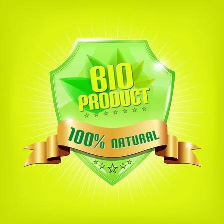 光沢のある緑色のシールドとゴールデン リボン - バイオ製品