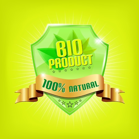Glossy green shield and golden ribbon - BIO PRODUCT Vector