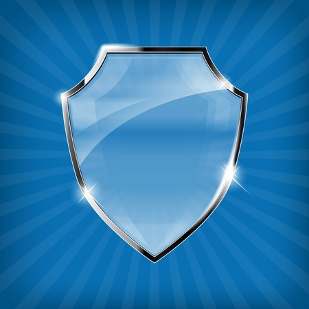 iron defense: Glossy security shield on blue background