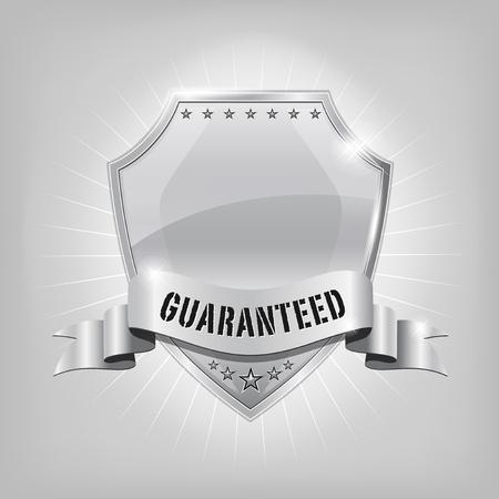 光沢のある銀のセキュリティシールド - 保証