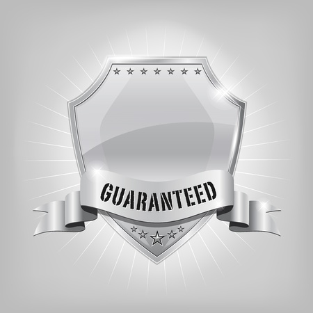 Glossy security silver shield - GUARANTEED Vector