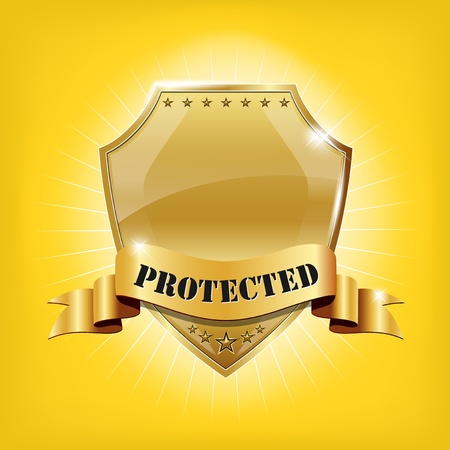 protect icon: Glossy security golden shield - PROTECTED