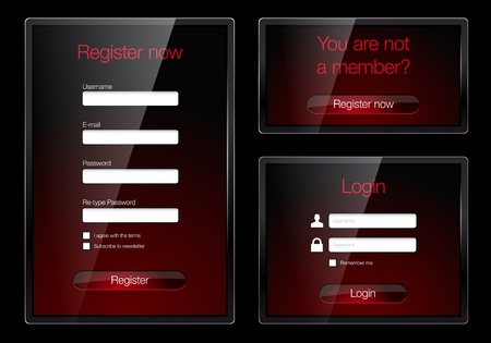 Login and register glossy web forms - vector file Vector