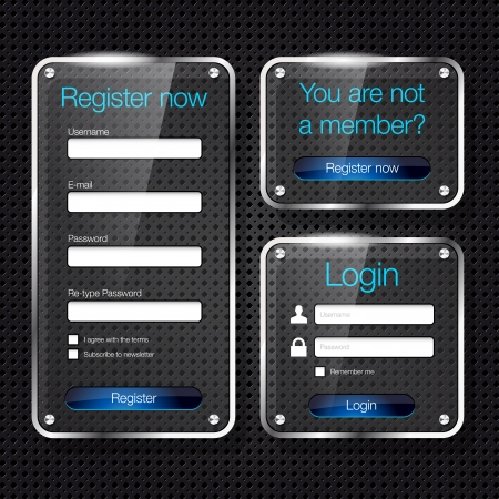 authentication: Login and register glass web forms - vector file Illustration