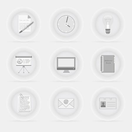 オフィス ビジネスまともな灰色のアイコン - ベクトル ファイルのセット