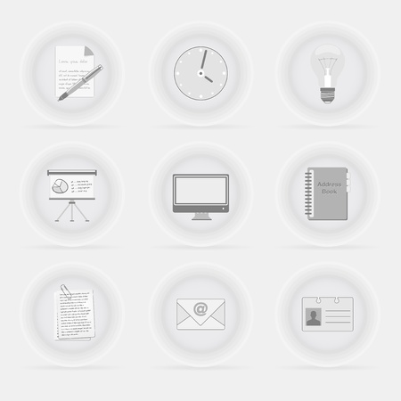 gray bulb: Set of office business decent gray icons - vector file