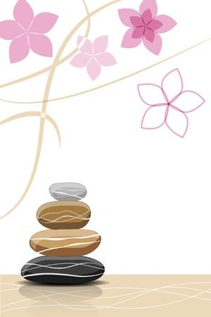 スパの石と抽象的な花 - あなたのテキストのための場所  イラスト・ベクター素材