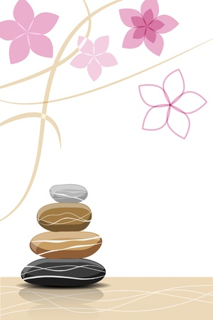 spa stones: Spa stones and abstract flowers - place for your text Illustration