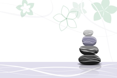 stone volcanic stones: Spa stones and abstract flowers - place for your text Illustration