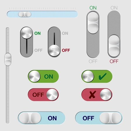 Set of ON OFF switch buttons and rollovers 일러스트
